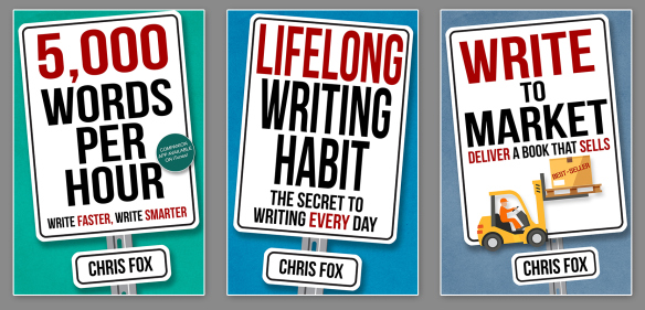 Picture of three books: 5,000 words per hour, Lifelong writing habit, Write to market